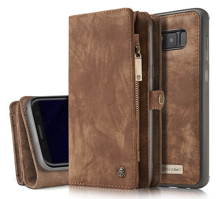 CaseMe Samsung Galaxy S8 Plus Zipper Wallet Detachable 2 in 1 Retro Flannelette Leather Folio Case Brown