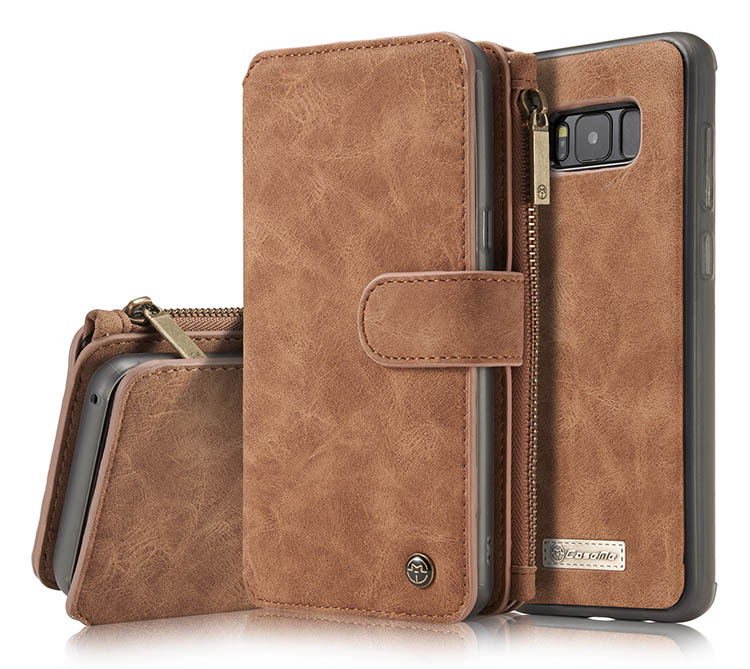 CaseMe Samsung Galaxy S8 Retro Flannelette Leather Detachable 2 in 1 Wallet Case Brown