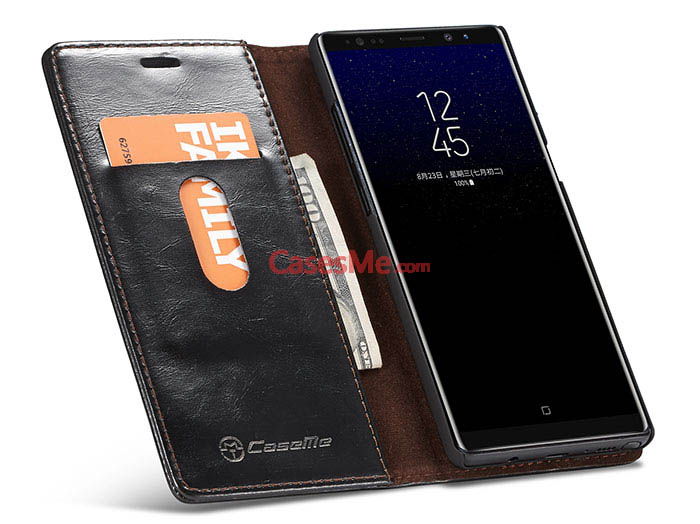 CaseMe Samsung Galaxy Note 8 Wallet Magnetic Flip Case Black