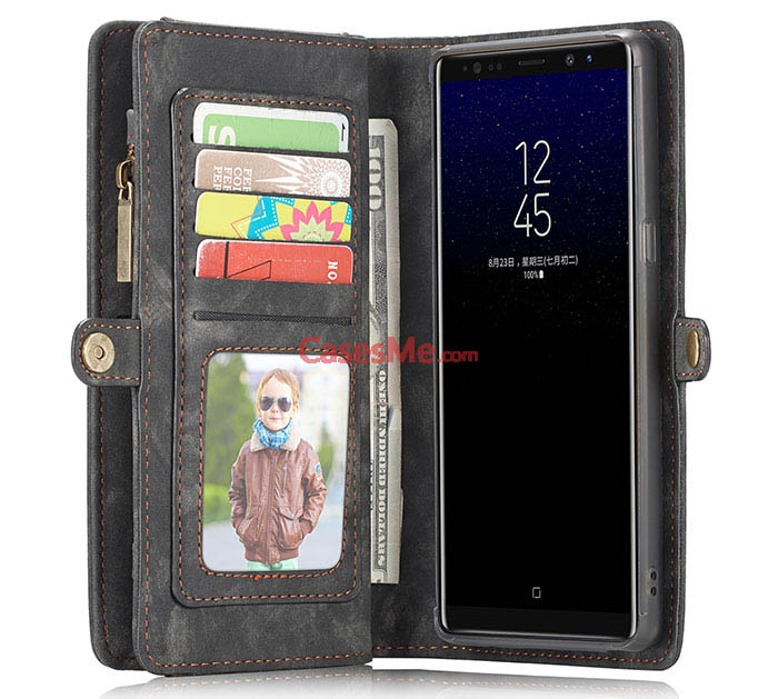 CaseMe Samsung Galaxy Note 8 Detachable Zipper Wallet 2 in 1 Folio Case