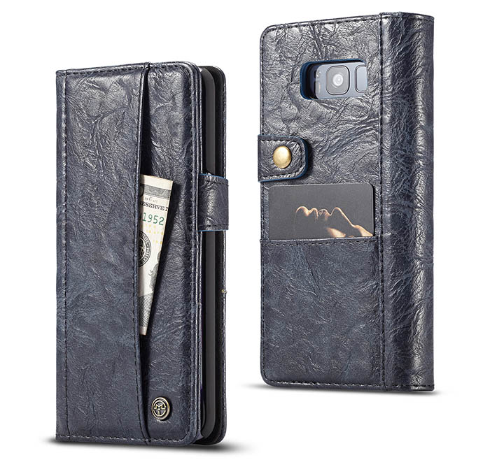 CaseMe Samsung Galaxy S8 Retro Slot Cards Wallet Leather Case