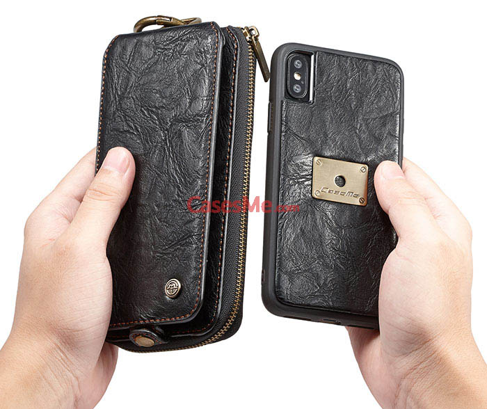 CaseMe iPhone X Detachable Zipper Wallet Flip Magnetic Case