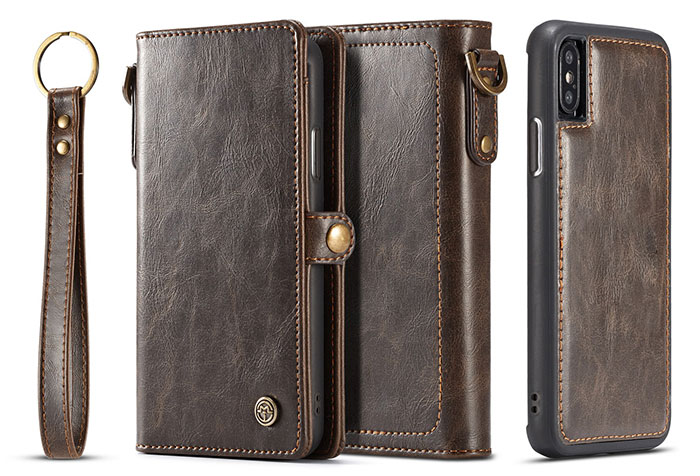 CaseMe iPhone X Wallet Retro Style Case With Wrist Strap