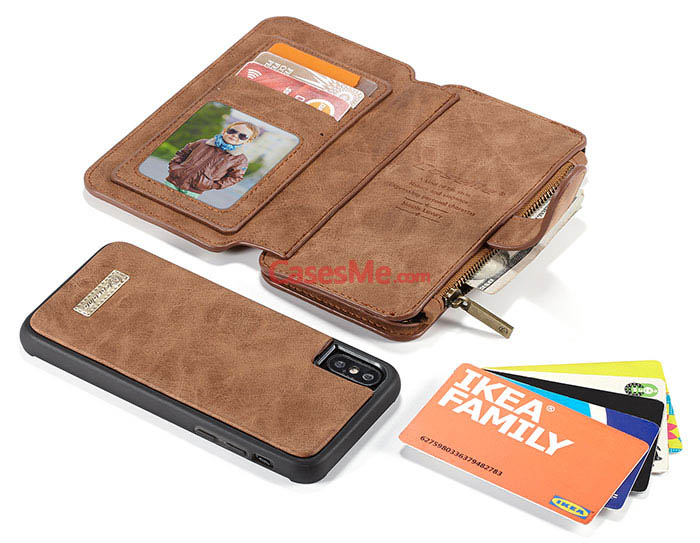 CaseMe iPhone X Zipper Wallet Detachable Flip Case