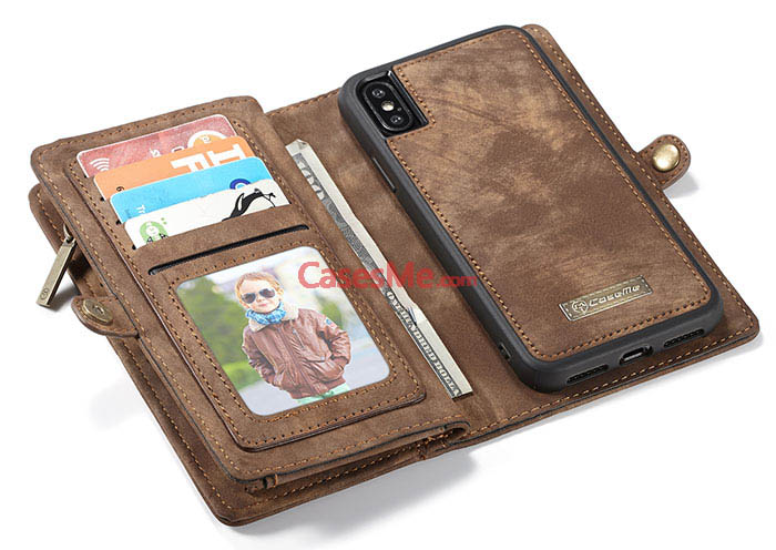 CaseMe iPhone X Zipper Wallet Detachable 2 in 1 Folio Case