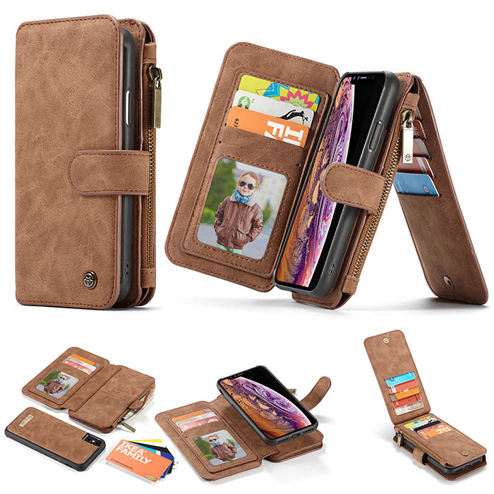 online retailer 56dd1 733cc CaseMe iPhone Xs Max Wallet Magnetic Detachable Case Brown