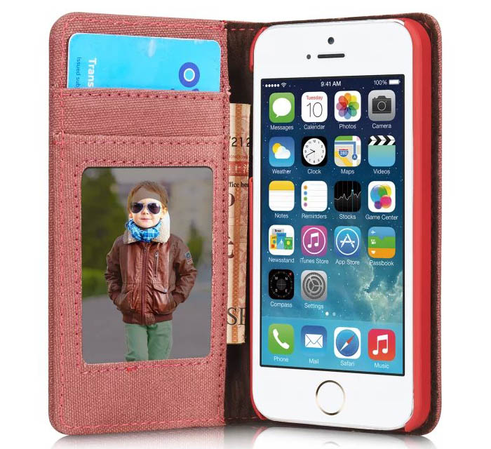 CaseMe 006 iPhone SE/5S/5 Jeans PU Leather Stand Wallet Case