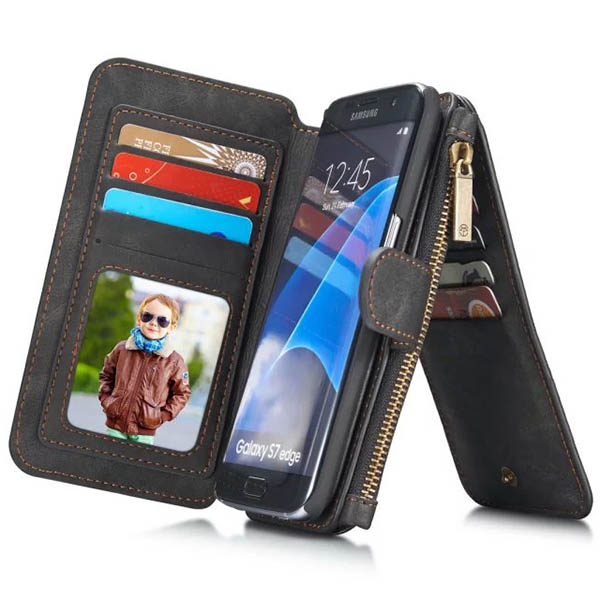 1bd796314f8 CaseMe Samsung Galaxy S7 Edge Vintage Multifunctional Wallet Genuine  Leather Case