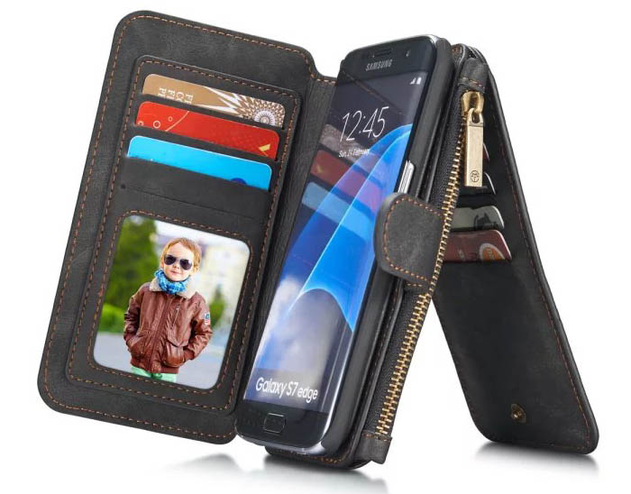 CaseMe Vintage Multifunctional Wallet Genuine Leather Case For Samsung Galaxy S7 Edge
