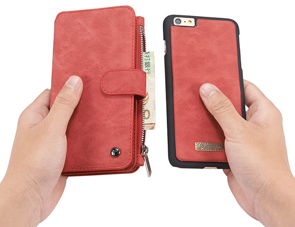 CaseMe 007 iPhone 6S Plus/6 Plus Retro Flannelette Leather Detachable 2 in 1 Wallet Case