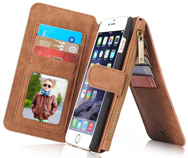 CaseMe iPhone 6S/6 Detachable 2 in 1 Zipper Wallet Case
