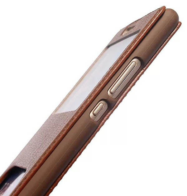 Dual Window View HuaWei P9 Lite Ultra Thin Stand Genuine Leather Case
