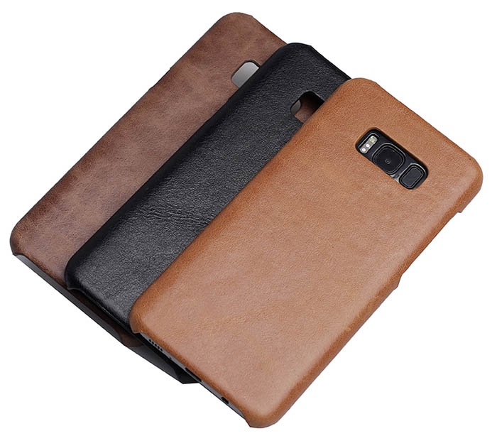 new product f5aae 8686f Genuine Leather Matte Samsung Galaxy S8 Plus Hard Back Cover Case