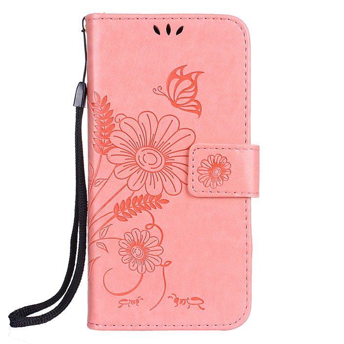Huawei P10 Lite Wallet Embossed Ant Flower Design Stand Case