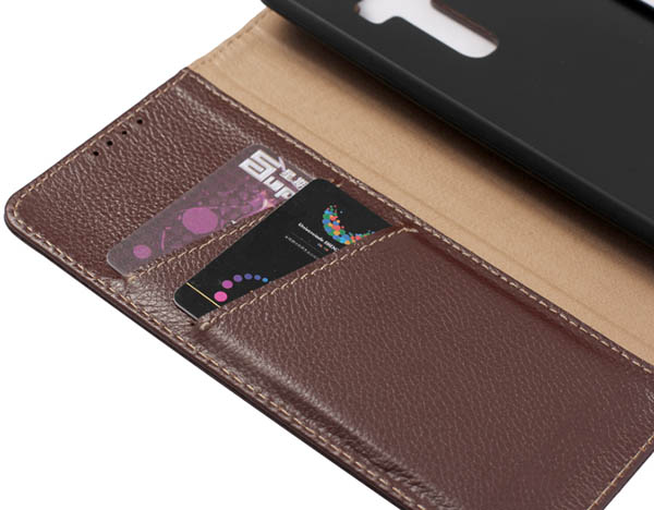 Litchi Pattern Genuine Leather Casual Wallet Stand Case For LG G4