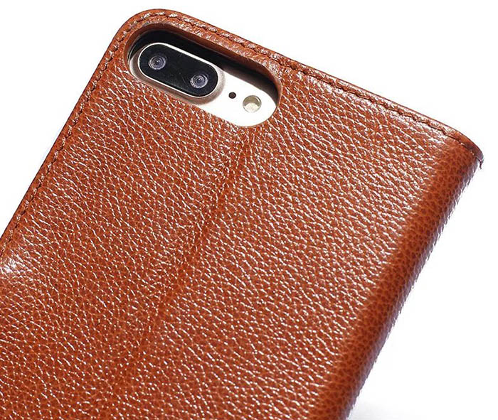 4fd363cd0f97 Real Genuine Cowhide Leather iPhone 7 Plus Litchi Pattern Wallet Stand Case
