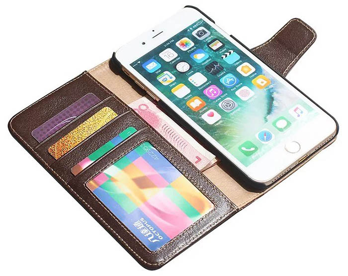 Real Genuine Cowhide Leather iPhone 7 Plus Luxury Wallet Stand Case