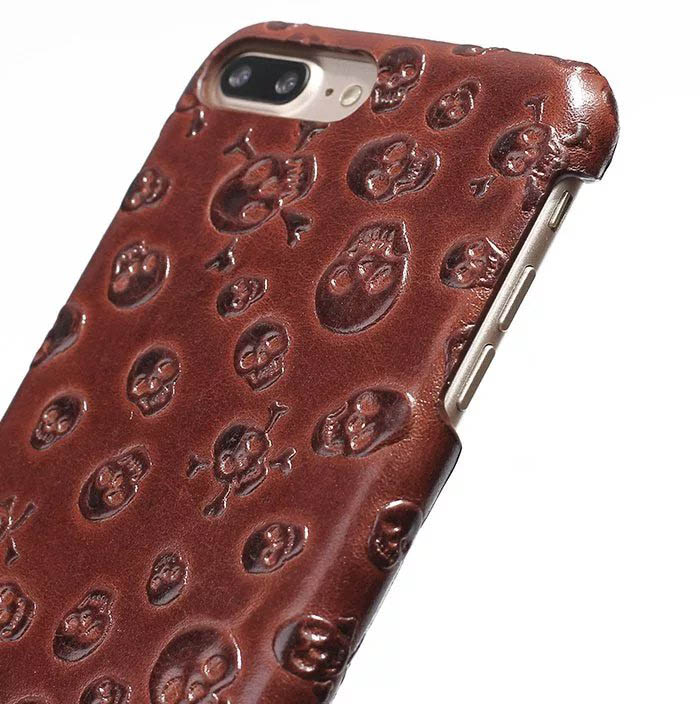 Pirate Skull Pattern iPhone 7 Plus Genuine Leather Back Cover Case