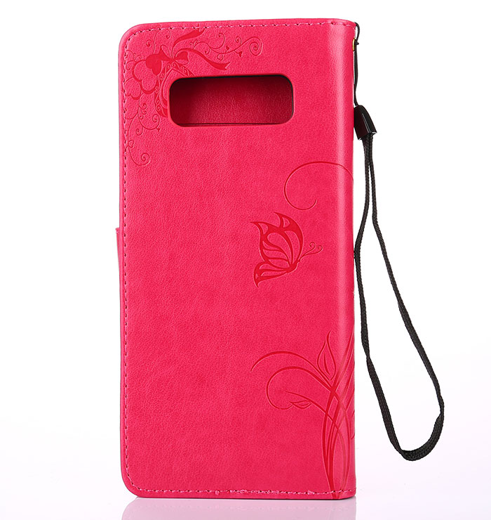 Samsung Galaxy Note 8 Wallet Embossed Ant Flower Design Stand Case