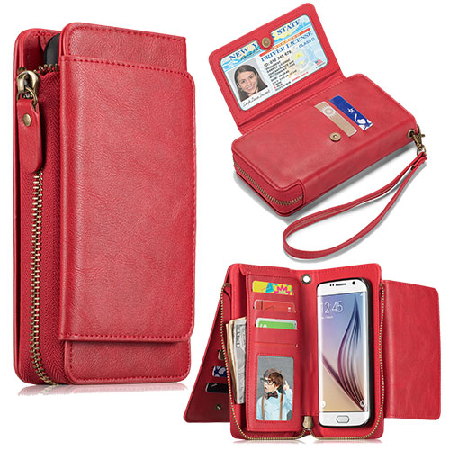 new product 2268e 98d05 Samsung Galaxy S6 Wallet Detachable Magnetic Case Red
