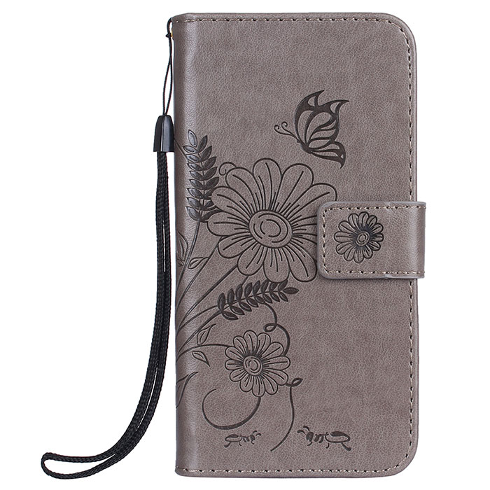 Samsung Galaxy S7 Wallet Embossed Ant Flower Design Stand Case
