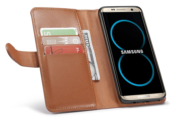 Samsung Galaxy S8 Plus Detachable Magnetic Zipper Pocket Case
