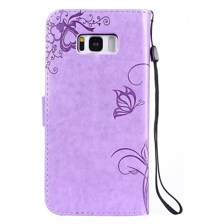 Samsung Galaxy S8 Plus Embossed Ant Butterfly Design Wallet Case With Wristlet