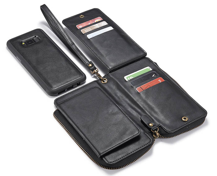 Samsung Galaxy S8 Plus Wallet Detachable Magnetic Case With Wrist Strap