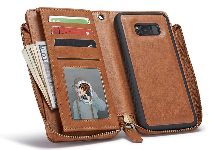 Samsung Galaxy S8 Wallet Detachable Magnetic Case With Wrist Strap