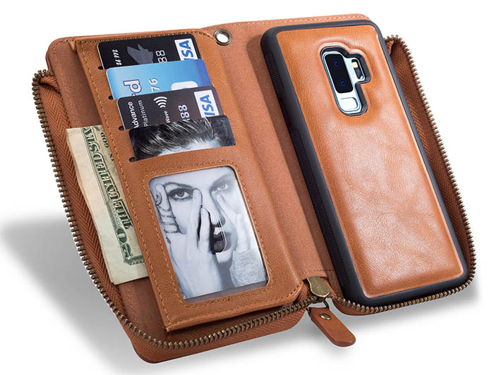 Samsung Galaxy S9 Plus Wallet Detachable Magnetic Case With Wrist Strap