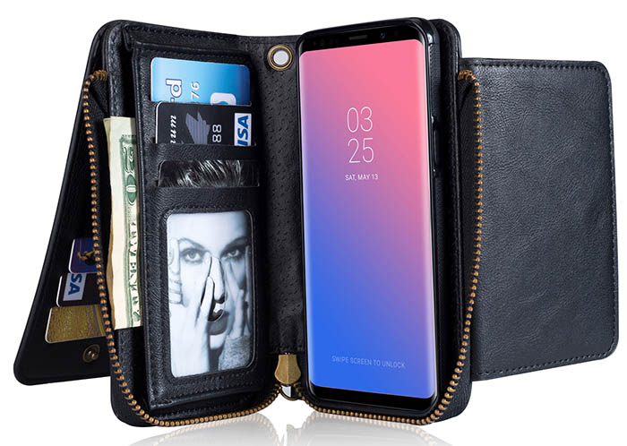Samsung Galaxy S9 Wallet Detachable Magnetic Case With Wrist Strap