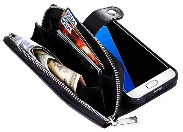 Weave Pattern Samsung Galaxy S7 Edge Multi-functional 2 in 1 Detachable Zipper Wallet Leather Case