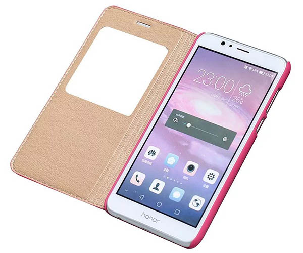Window View HuaWei Honor 8 Ultra Thin Stand Genuine Leather Case