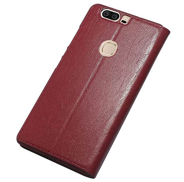 Window View HuaWei Honor V8 Ultra Thin Stand Genuine Leather Case