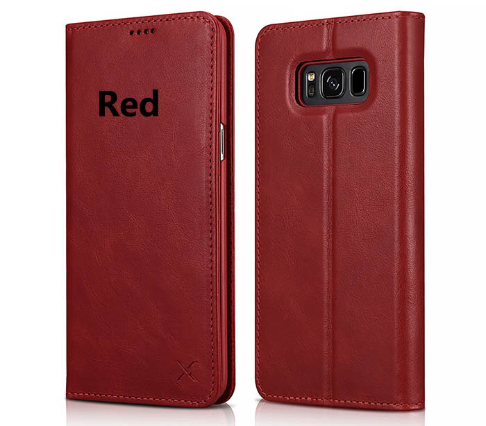 XOOMZ Samsung Galaxy S8 Wallet Stand Genuine Cowhide Leather Folio Case
