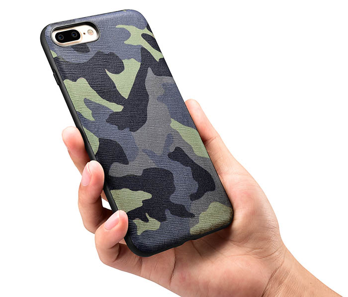 check out 288e9 893e4 XOOMZ iPhone 7 Plus Camouflage Genuine Leather Skin Silicone Fashional Back  Cover Case