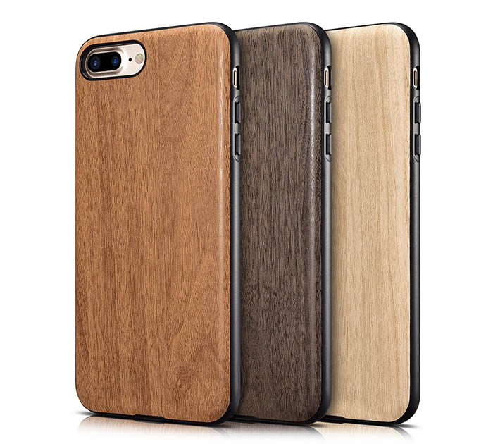 xoomz iphone 7 plus customized wood embossed pu leather back cover case