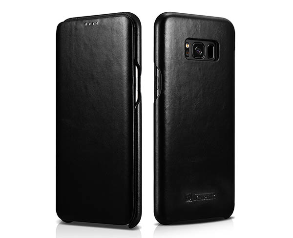 ICARER Samsung Galaxy S8 Curved Edge Genuine Vintage Cowhide Leather Folio Case
