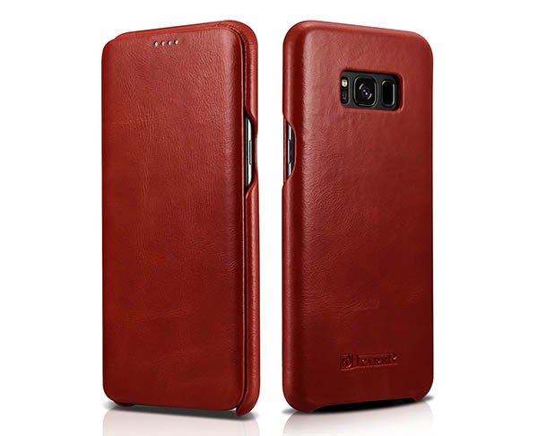ICARER Samsung Galaxy S8 Plus Curved Edge Genuine Vintage Cowhide Leather Folio Case