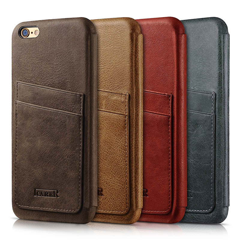 ICARER Knight Card-slot Real Leather Cover Series For iPhone 6 Plus/ 6S Plus