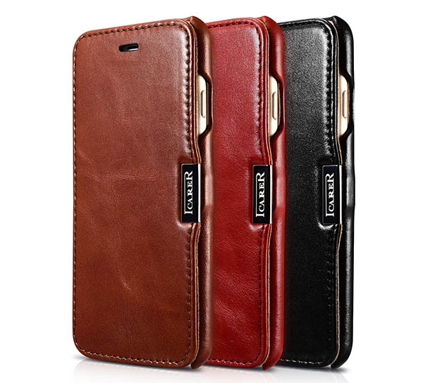 iCarer iPhone 7 Vintage Side Open Genuine Leather Case