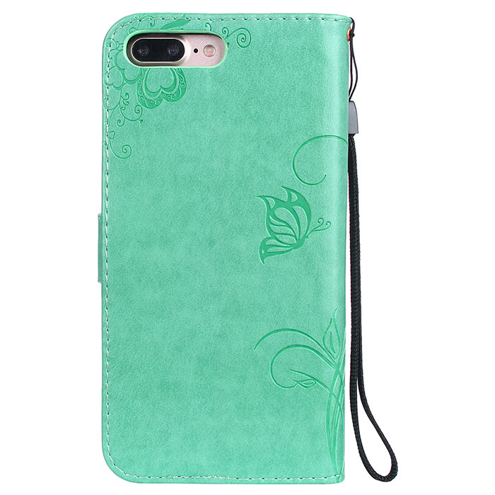 iPhone 8 Plus Wallet Embossed Ant Flower Design Stand Case