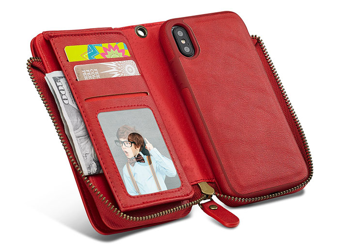iPhone X Wallet Detachable Magnetic Case With Wrist Strap